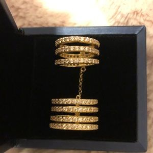 Jewelry - Gold plated diamond ring with 3 rows on each part